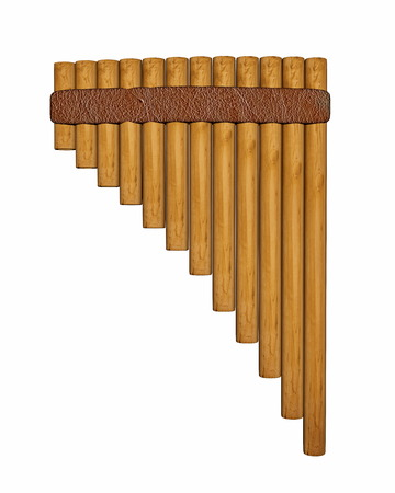 Pan flute or pipe isolated in white background
