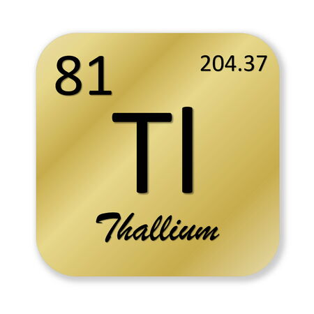 tl: Black thallium element into golden square shape isolated in white background