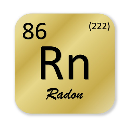 radon: Black radon element into golden square shape isolated in white background