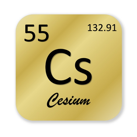 cesium: Black cesium element into golden square shape isolated in white background