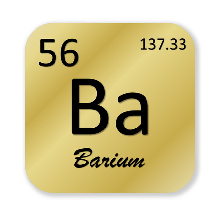 barium: Black barium element into golden square shape isolated in white background