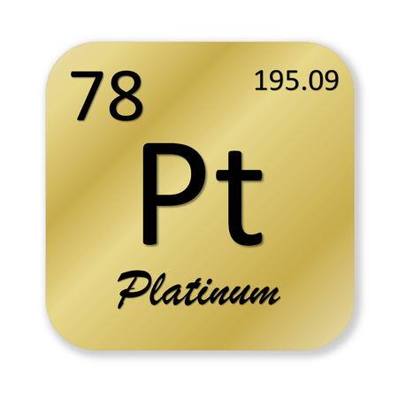 platinum: Black platinum element into golden square shape isolated in white background