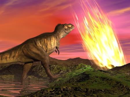 prehistory: Meteorite falling on the earth at dinosaurs age killing them Stock Photo
