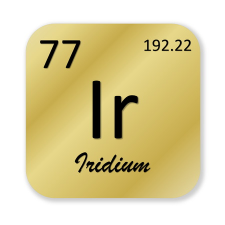Black iridium element into golden square shape isolated in white background photo