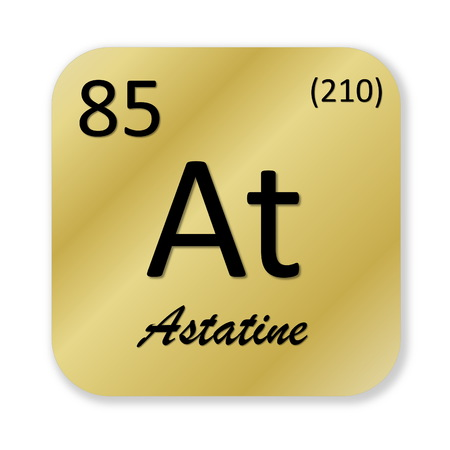 isotope: Black astatine element into golden square shape isolated in white background