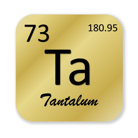 Black tantalum element into golden square shape isolated in white background
