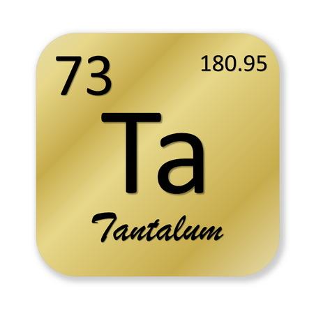 wolfram: Black tantalum element into golden square shape isolated in white background