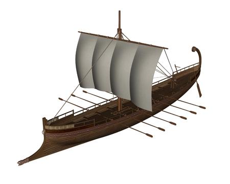 trireme: Ancient greek boat - 3D render