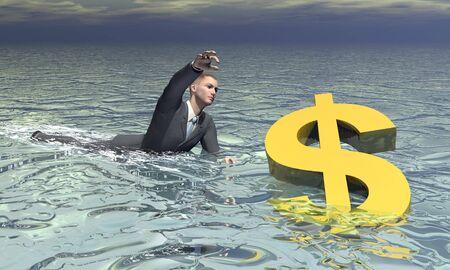 sinking: Businessman and dollar sinking - 3D render