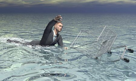 sinking: Businessman and shopping cart sinking - 3D render Stock Photo