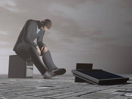 Businessman burn out - 3D render