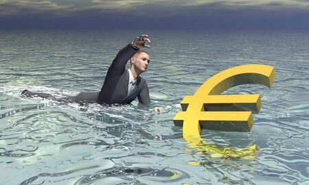 sinking: Businessman and euro sinking - 3D render