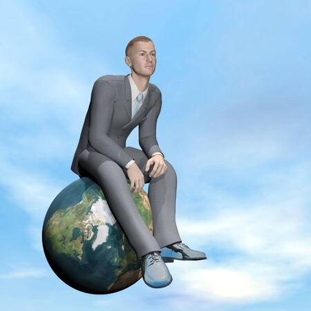 Businessman thinking - 3D render photo