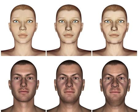 aging process: Aging process - 3D render