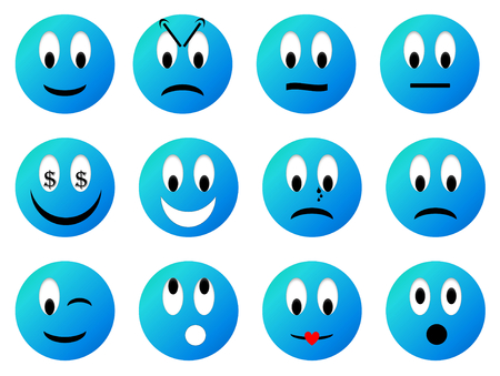 sad love: Set of smiley - 3D render Stock Photo