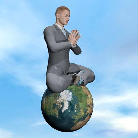 Businessman meditation - 3D render photo