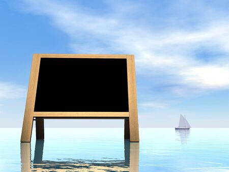 annoucement: Summer blackboard - 3D render Stock Photo