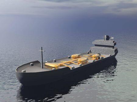 bulk carrier: Tanker ship - 3D render Stock Photo