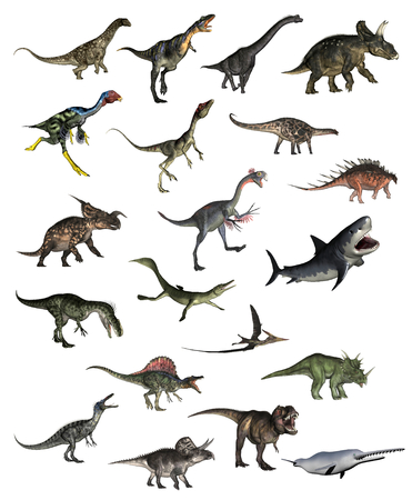 Set of dinosaurs - 3D render