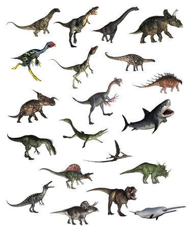 Set van dinosaurussen - 3D render