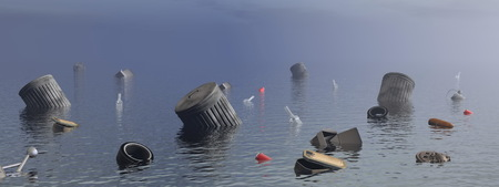 mundo contaminado: Contaminaci�n en el mar - 3D render Foto de archivo