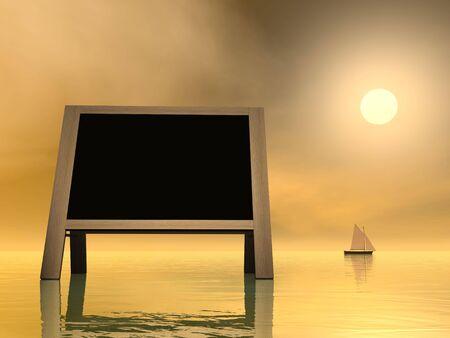 annoucement: Sunset message - 3D render