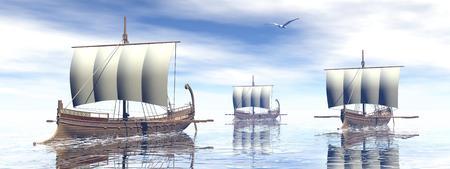 trireme: Ancient greek boats - 3D render