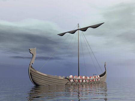 Viking drakkar - 3D render photo
