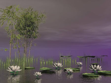 Bamboo and lily flowers - 3D render photo