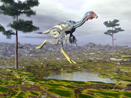 Caudipteryx dinoasaur - 3D render photo