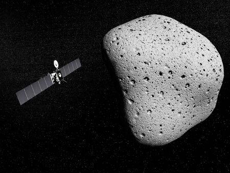 Rosetta probe and comet - 3D render