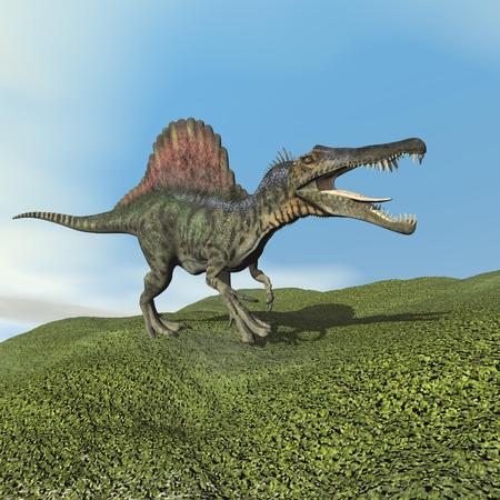 spinosaurus: Spinosaurus dinosaur - 3D render Stock Photo