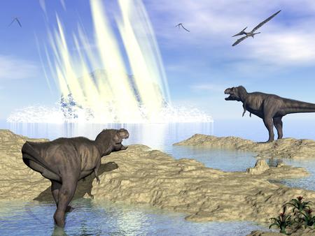 ユカタン、メキシコ - 3 D のレンダリングの隕石衝突による恐竜の終わり