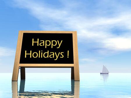 annoucement: Summer blackboard wishing happy holidays - 3D render Stock Photo