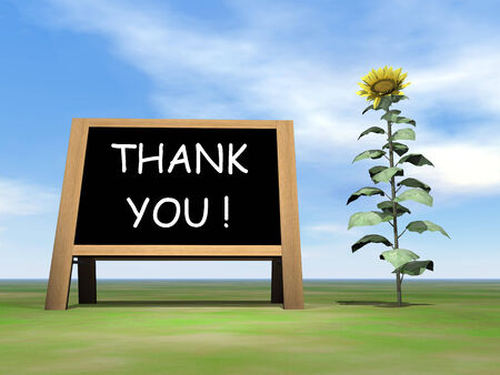 annoucement: Sunflower blackboard saying thank you - 3D render Stock Photo