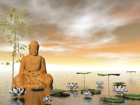 Buddha in nature - 3D render photo