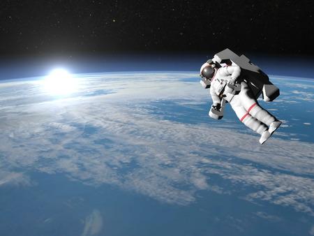 astronaut: Astronaut or cosmonaut flying upon earth - 3D render