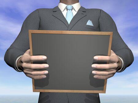 Businessman holding blackboard - 3D render photo