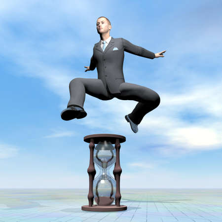 businessman jumping: Businessman jumping upon hourglass - 3D render