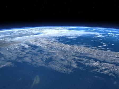 3 D レンダラ ・ スペース - 惑星地球の地平線