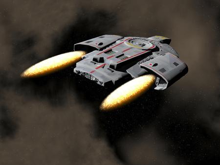 starship: Spaceship - 3D render Stock Photo