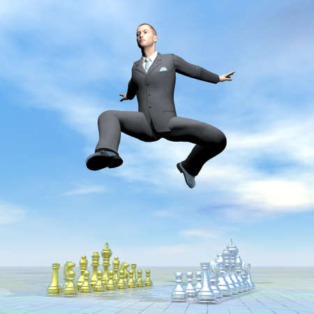 Businessman jumping upon chessboard - 3D render photo