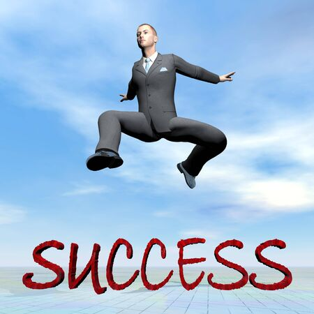 Businessman jumping upon success word - 3D render photo