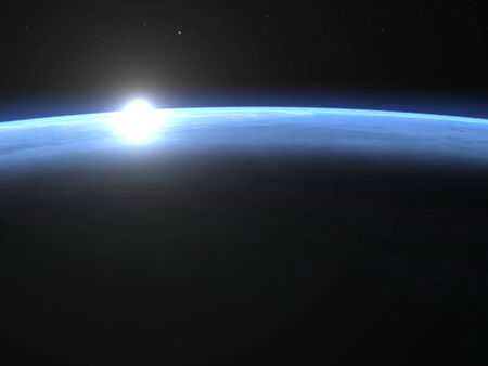 Planet earth horizon with sunrise in space - 3D render