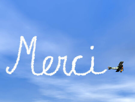 Merci, french thank you message, from biplan smoke - 3D render photo