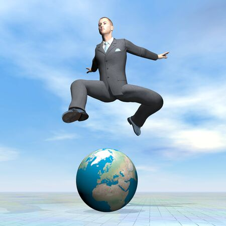 Businessman jumping upon earth - 3D render photo