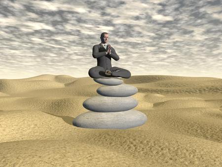 Businessman relaxing - 3D render photo