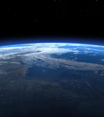 horizon de la terre de Planet in space - 3D render