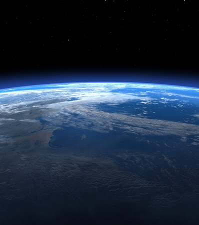 Planet earth horizon in space - 3D render Stok Fotoğraf - 31464911