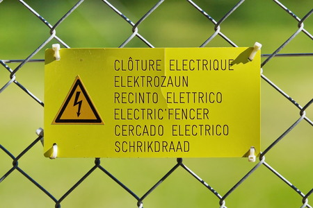 electric fence: Electric fence sign
